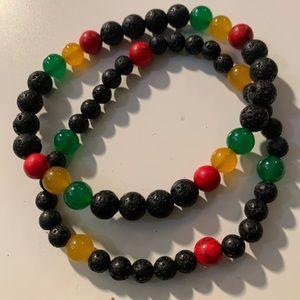 NWT volcanic bead Rasta bracelet set